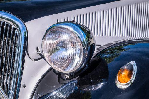headlight of an oldtimer - closeup